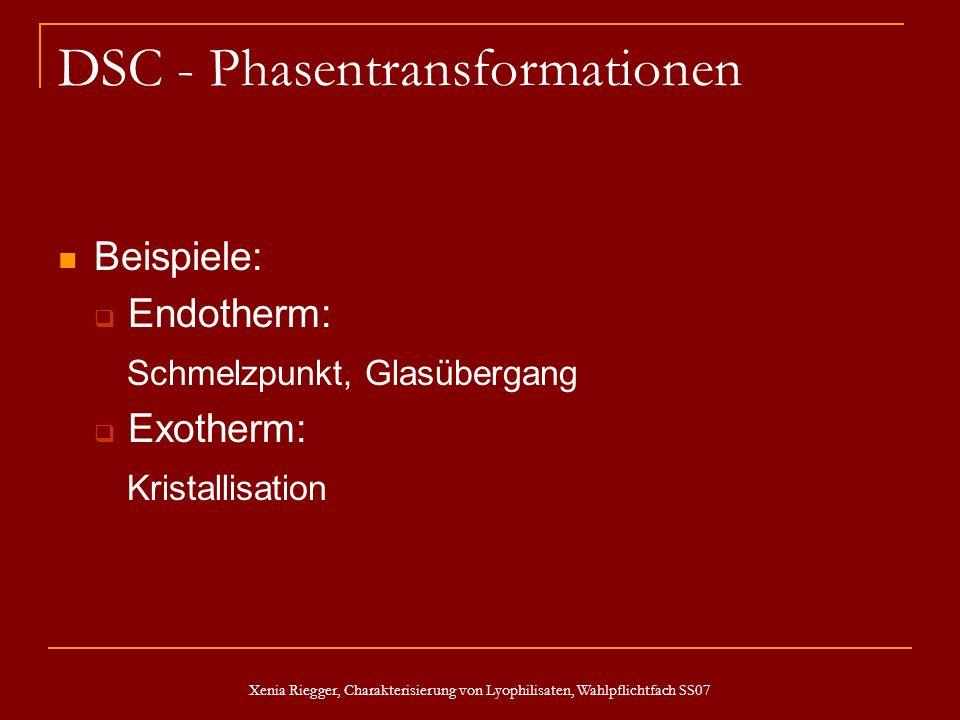 Xenia Riegger, Charakterisierung von Lyophilisaten, Wahlpflichtfach SS07 DSC - Phasentransformationen Beispiele: Endotherm: Schmelzpunkt, Glasübergang