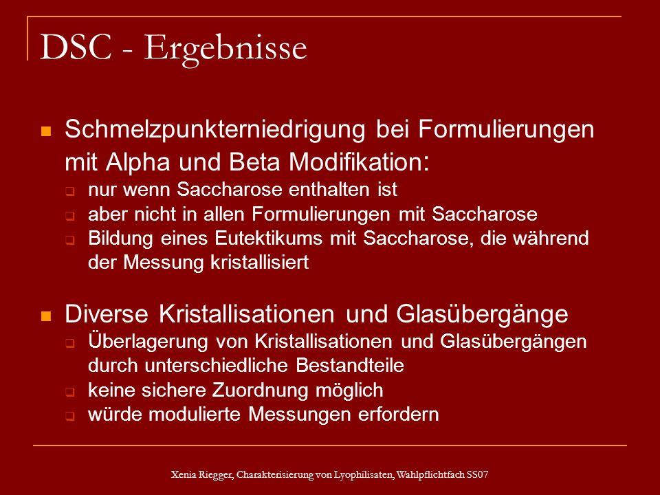 Xenia Riegger, Charakterisierung von Lyophilisaten, Wahlpflichtfach SS07 DSC - Ergebnisse Schmelzpunkterniedrigung bei Formulierungen mit Alpha und Be