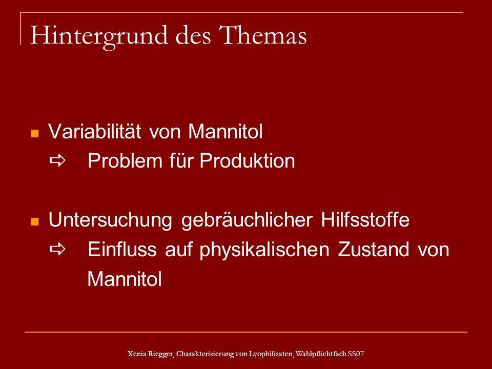 Xenia Riegger, Charakterisierung von Lyophilisaten, Wahlpflichtfach SS07 Hintergrund des Themas Variabilität von Mannitol Problem für Produktion Unter