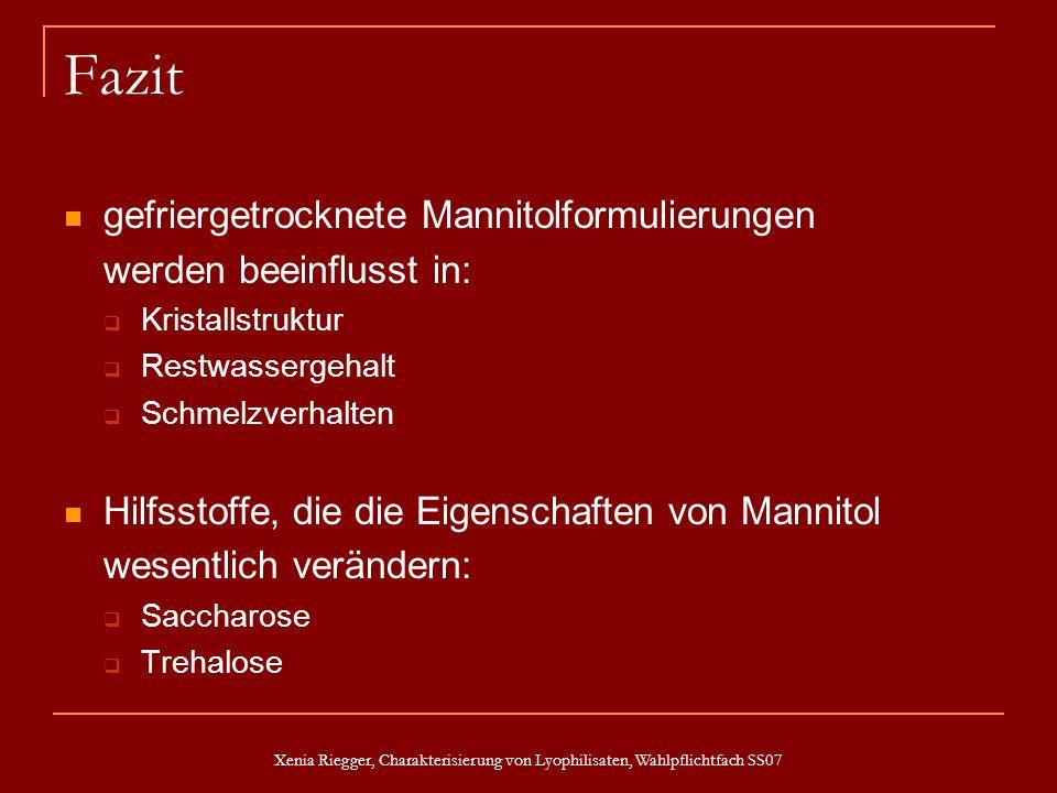 Xenia Riegger, Charakterisierung von Lyophilisaten, Wahlpflichtfach SS07 Fazit gefriergetrocknete Mannitolformulierungen werden beeinflusst in: Krista