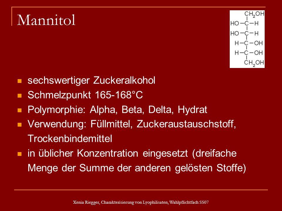 Xenia Riegger, Charakterisierung von Lyophilisaten, Wahlpflichtfach SS07 Mannitol sechswertiger Zuckeralkohol Schmelzpunkt 165-168°C Polymorphie: Alph