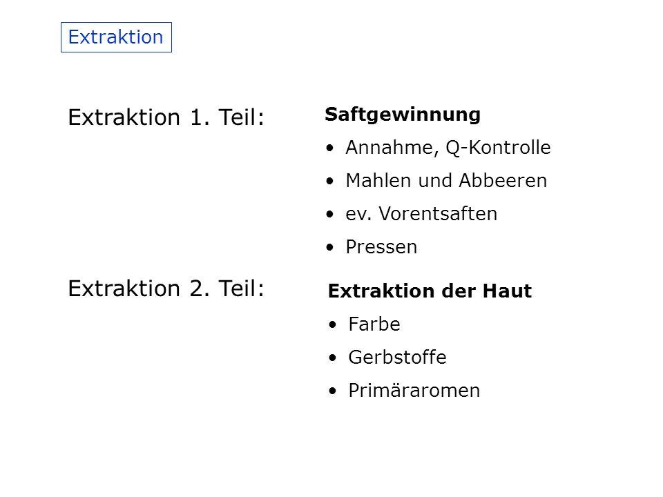 Extraktion Extraktion 1.Teil: Saftgewinnung Annahme, Q-Kontrolle Mahlen und Abbeeren ev.