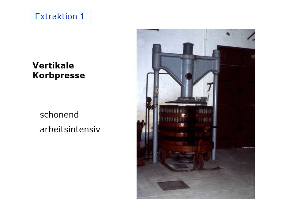 Extraktion 1 Vertikale Korbpresse schonend arbeitsintensiv