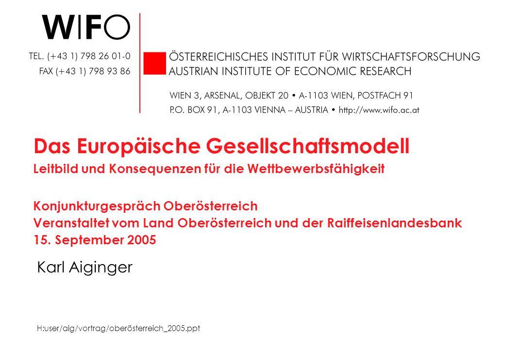 Karl Aiginger Das Europäische Gesellschaftsmodell Leitbild und Konsequenzen für die Wettbewerbsfähigkeit Konjunkturgespräch Oberösterreich Veranstaltet vom Land Oberösterreich und der Raiffeisenlandesbank 15.