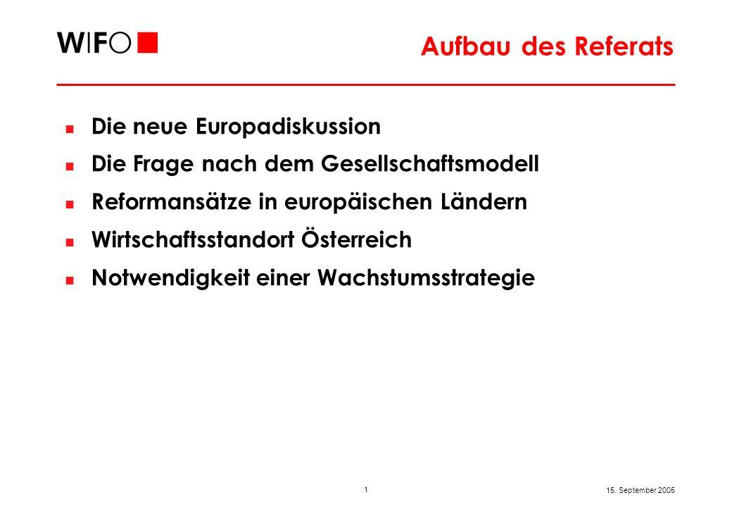 1 15. September 2005 Aufbau des Referats Die neue Europadiskussion Die Frage nach dem Gesellschaftsmodell Reformansätze in europäischen Ländern Wirtsc