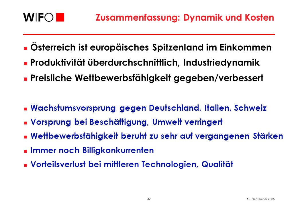 32 15. September 2005 Zusammenfassung: Dynamik und Kosten Österreich ist europäisches Spitzenland im Einkommen Produktivität überdurchschnittlich, Ind