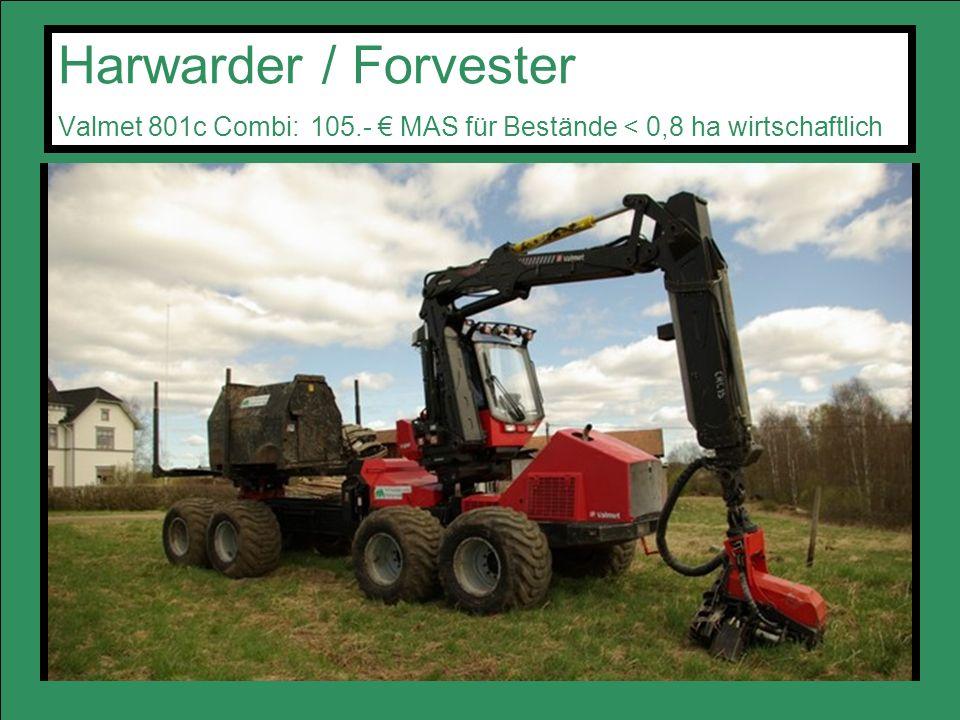 Harwarder / Forvester Valmet 801c Combi: 105.- MAS für Bestände < 0,8 ha wirtschaftlich
