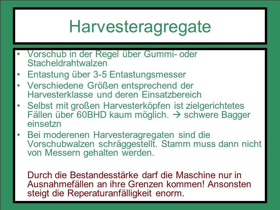 Harvesteragregate Vorschub in der Regel über Gummi- oder Stacheldrahtwalzen Entastung über 3-5 Entastungsmesser Verschiedene Größen entsprechend der H