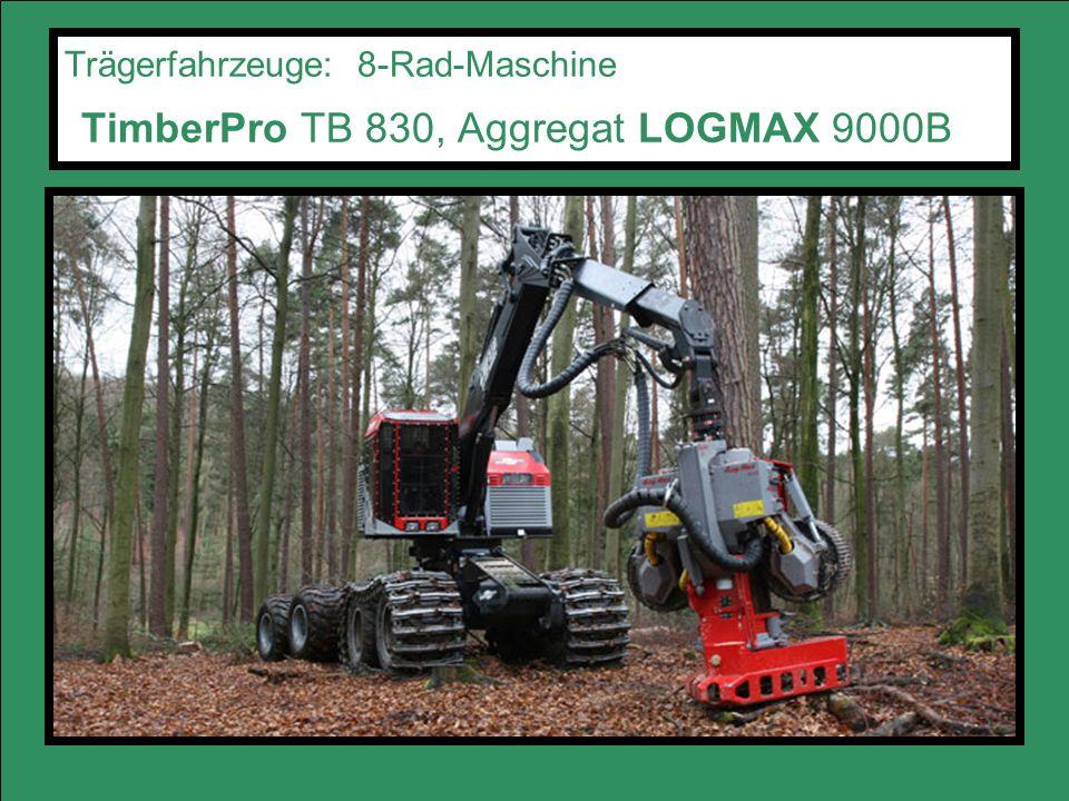Trägerfahrzeuge: 8-Rad-Maschine TimberPro TB 830, Aggregat LOGMAX 9000B