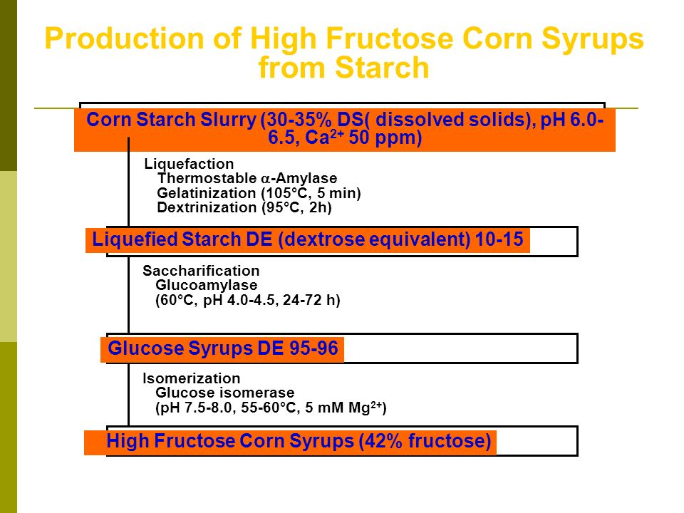 Corn Starch Slurry (30-35% DS( dissolved solids), pH 6.0- 6.5, Ca 2+ 50 ppm) Production of High Fructose Corn Syrups from Starch Liquefaction Thermost