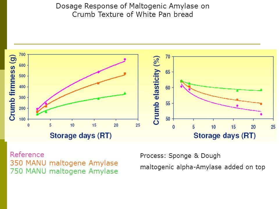 Dosage Response of Maltogenic Amylase on Crumb Texture of White Pan bread Process: Sponge & Dough maltogenic alpha-Amylase added on top Reference 350