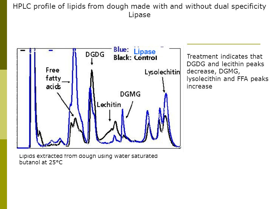 HPLC profile of lipids from dough made with and without dual specificity Lipase Treatment indicates that DGDG and lecithin peaks decrease, DGMG, lysol