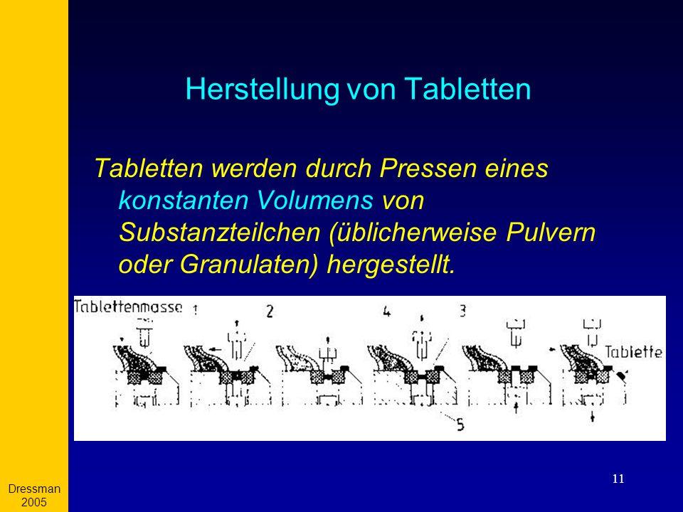 Dressman 2005 11 Herstellung von Tabletten Tabletten werden durch Pressen eines konstanten Volumens von Substanzteilchen (üblicherweise Pulvern oder G