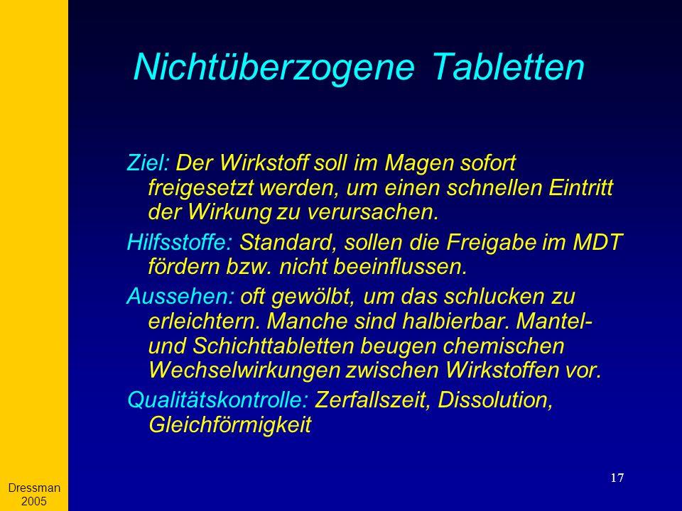 Dressman 2005 17 Nichtüberzogene Tabletten Ziel: Der Wirkstoff soll im Magen sofort freigesetzt werden, um einen schnellen Eintritt der Wirkung zu ver
