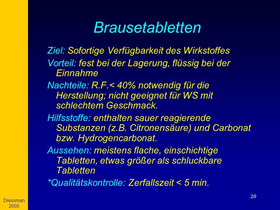 Dressman 2005 20 Brausetabletten Ziel: Sofortige Verfügbarkeit des Wirkstoffes Vorteil: fest bei der Lagerung, flüssig bei der Einnahme Nachteile: R.F