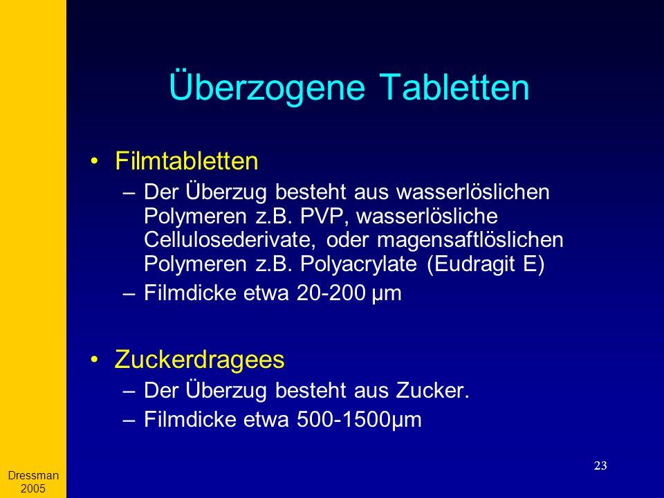 Dressman 2005 23 Überzogene Tabletten Filmtabletten –Der Überzug besteht aus wasserlöslichen Polymeren z.B. PVP, wasserlösliche Cellulosederivate, ode