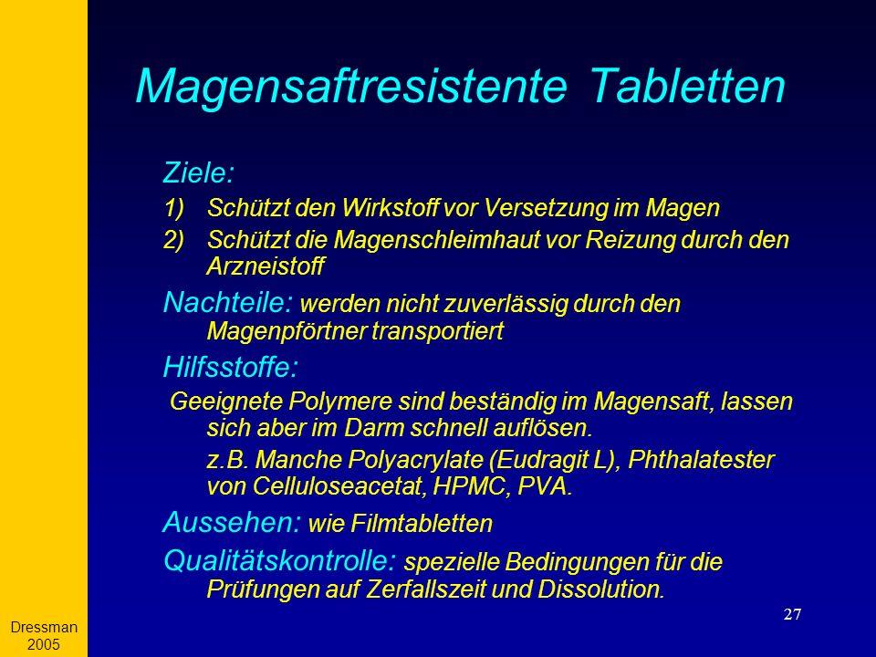Dressman 2005 27 Magensaftresistente Tabletten Ziele: 1)Schützt den Wirkstoff vor Versetzung im Magen 2)Schützt die Magenschleimhaut vor Reizung durch