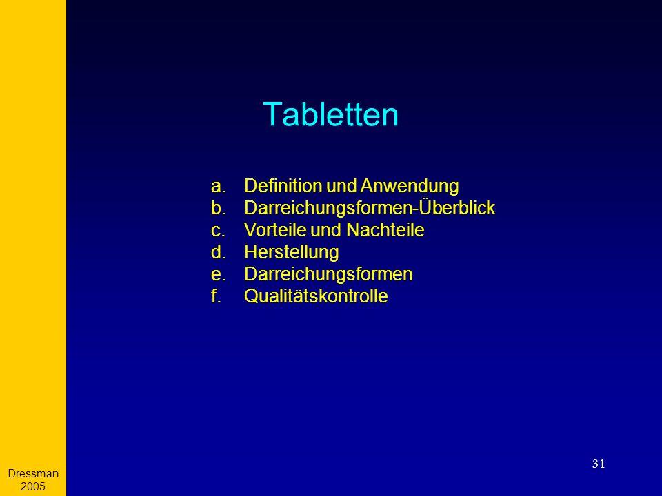 Dressman 2005 31 Tabletten a. a.Definition und Anwendung b. b.Darreichungsformen-Überblick c. c.Vorteile und Nachteile d. d.Herstellung e. e.Darreichu