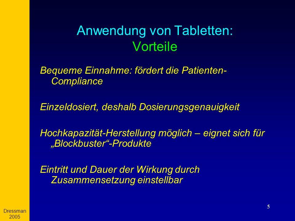 Dressman 2005 5 Anwendung von Tabletten: Vorteile Bequeme Einnahme: fördert die Patienten- Compliance Einzeldosiert, deshalb Dosierungsgenauigkeit Hoc