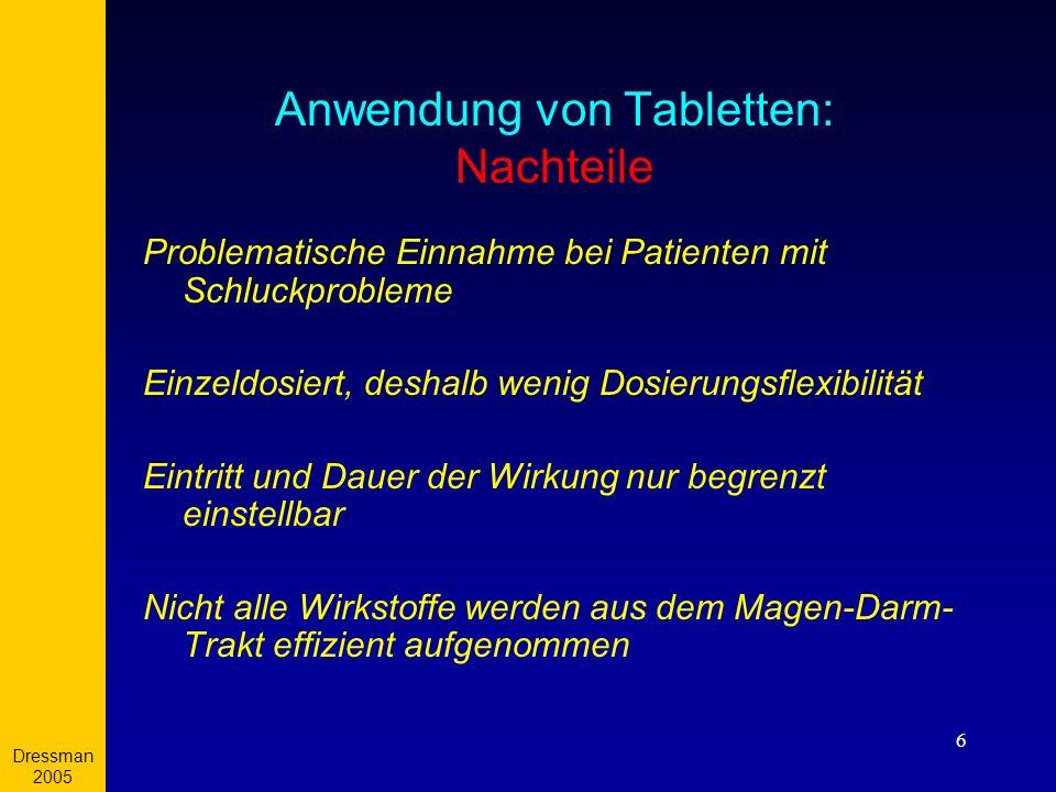 Dressman 2005 6 Anwendung von Tabletten: Nachteile Problematische Einnahme bei Patienten mit Schluckprobleme Einzeldosiert, deshalb wenig Dosierungsfl