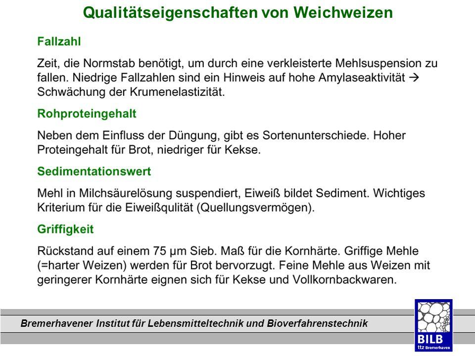 Bremerhavener Institut für Lebensmitteltechnik und Bioverfahrenstechnik Dateinamen Qualitätseigenschaften von Weichweizen