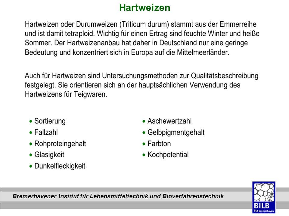 Bremerhavener Institut für Lebensmitteltechnik und Bioverfahrenstechnik Dateinamen Hartweizen