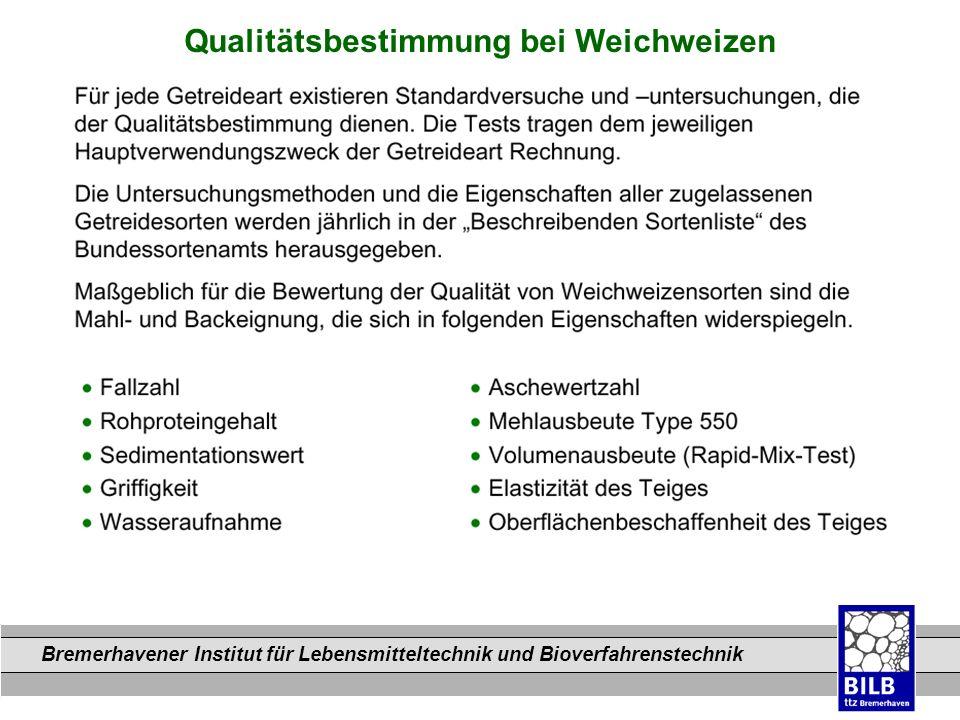 Bremerhavener Institut für Lebensmitteltechnik und Bioverfahrenstechnik Dateinamen Qualitätsbestimmung bei Weichweizen