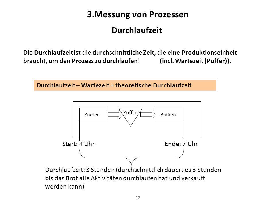 12 3.Messung von Prozessen Durchlaufzeit Die Durchlaufzeit ist die durchschnittliche Zeit, die eine Produktionseinheit braucht, um den Prozess zu durc