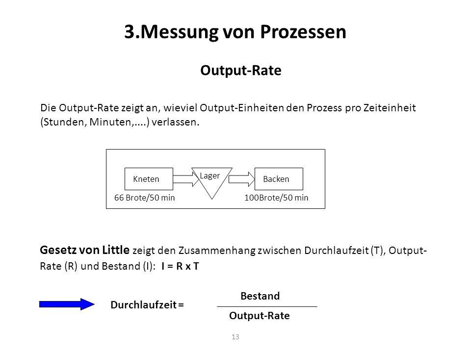 13 3.Messung von Prozessen Output-Rate Die Output-Rate zeigt an, wieviel Output-Einheiten den Prozess pro Zeiteinheit (Stunden, Minuten,....) verlasse