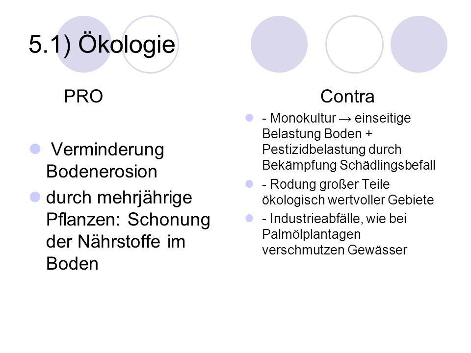 5.1) Ökologie PRO Verminderung Bodenerosion durch mehrjährige Pflanzen: Schonung der Nährstoffe im Boden Contra - Monokultur einseitige Belastung Bode