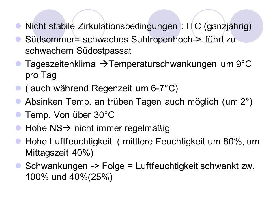 Nicht stabile Zirkulationsbedingungen : ITC (ganzjährig) Südsommer= schwaches Subtropenhoch-> führt zu schwachem Südostpassat Tageszeitenklima Tempera