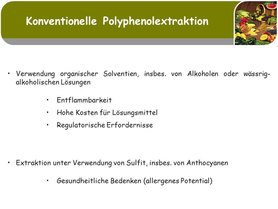 Enzymatische Tresterextraktion D-Optimaler Versuchsplan Einflussparameter: pH-Wert Temperatur Enzymdosage (Novoferm 106 / Cellubrix L ; 3 / 1) 7500-- 6 600055--5 45005064 30004553 15004042 03531 Stufenwerte: Enzymdosage ppm]Temperatur [°C]pH-Wert CBAFaktoren: