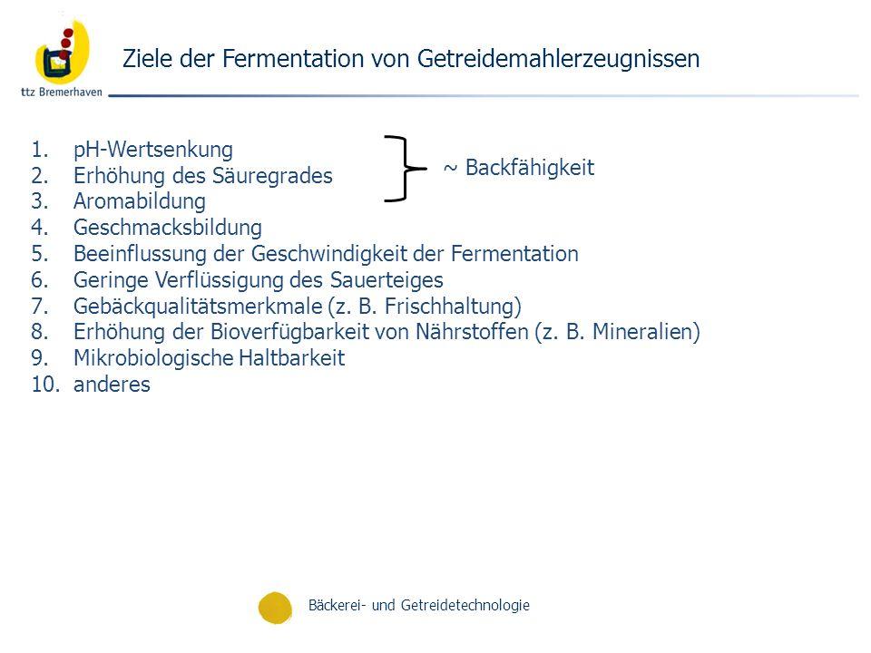 Bäckerei- und Getreidetechnologie Ziele der Fermentation von Getreidemahlerzeugnissen 1.pH-Wertsenkung 2.Erhöhung des Säuregrades 3.Aromabildung 4.Ges