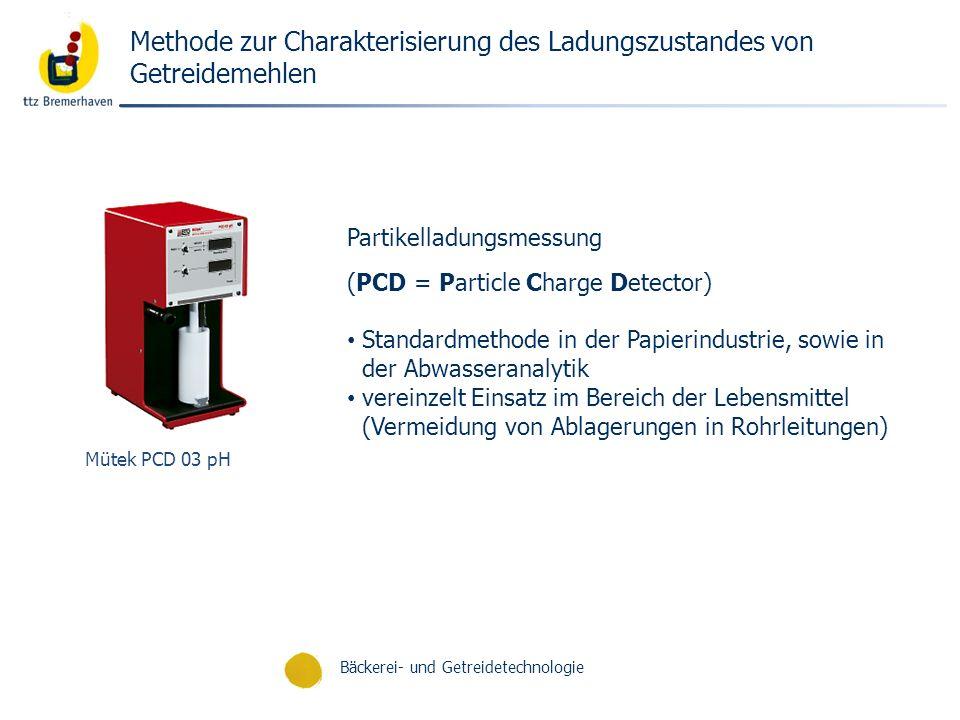 Bäckerei- und Getreidetechnologie Methode zur Charakterisierung des Ladungszustandes von Getreidemehlen Partikelladungsmessung (PCD = Particle Charge