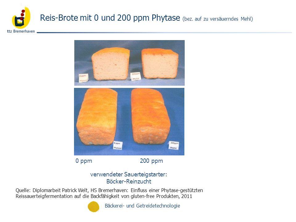 Bäckerei- und Getreidetechnologie Reis-Brote mit 0 und 200 ppm Phytase (bez. auf zu versäuerndes Mehl) Quelle: Diplomarbeit Patrick Welt, HS Bremerhav