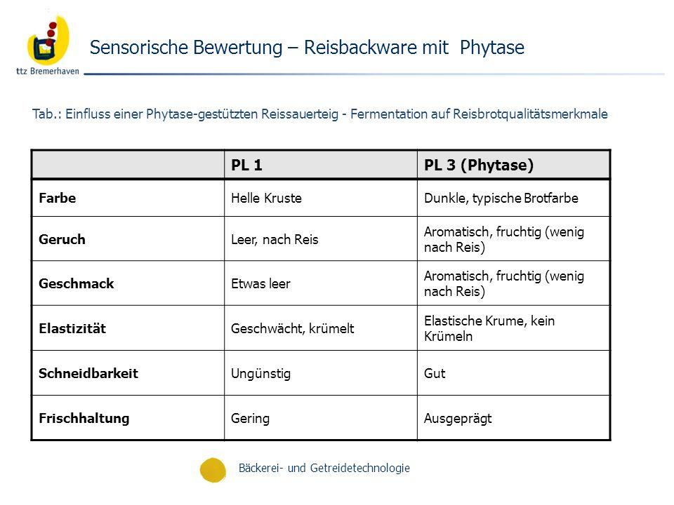 Bäckerei- und Getreidetechnologie Tab.: Einfluss einer Phytase-gestützten Reissauerteig - Fermentation auf Reisbrotqualitätsmerkmale PL 1PL 3 (Phytase