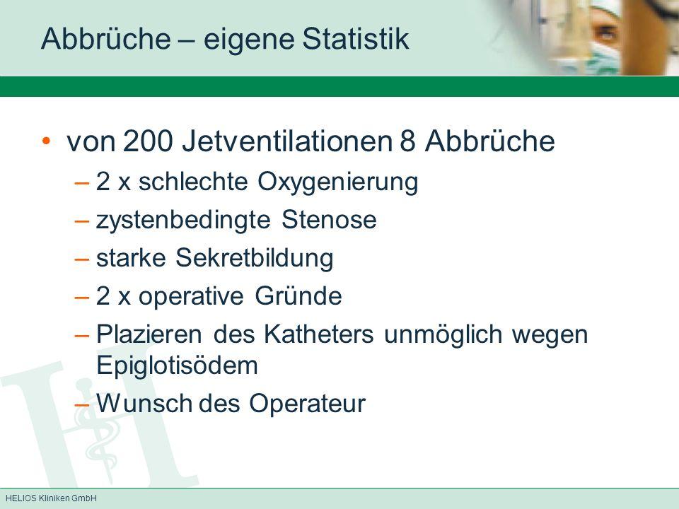 HELIOS Kliniken GmbH Abbrüche – eigene Statistik von 200 Jetventilationen 8 Abbrüche –2 x schlechte Oxygenierung –zystenbedingte Stenose –starke Sekre