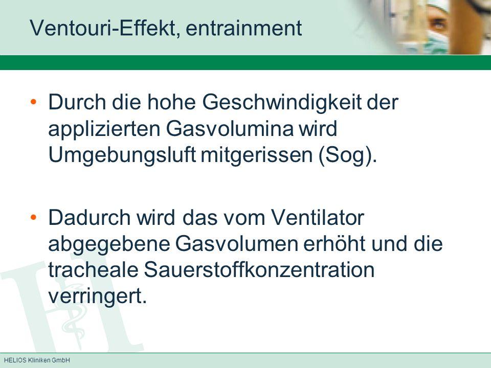 HELIOS Kliniken GmbH Ventouri-Effekt, entrainment Durch die hohe Geschwindigkeit der applizierten Gasvolumina wird Umgebungsluft mitgerissen (Sog). Da