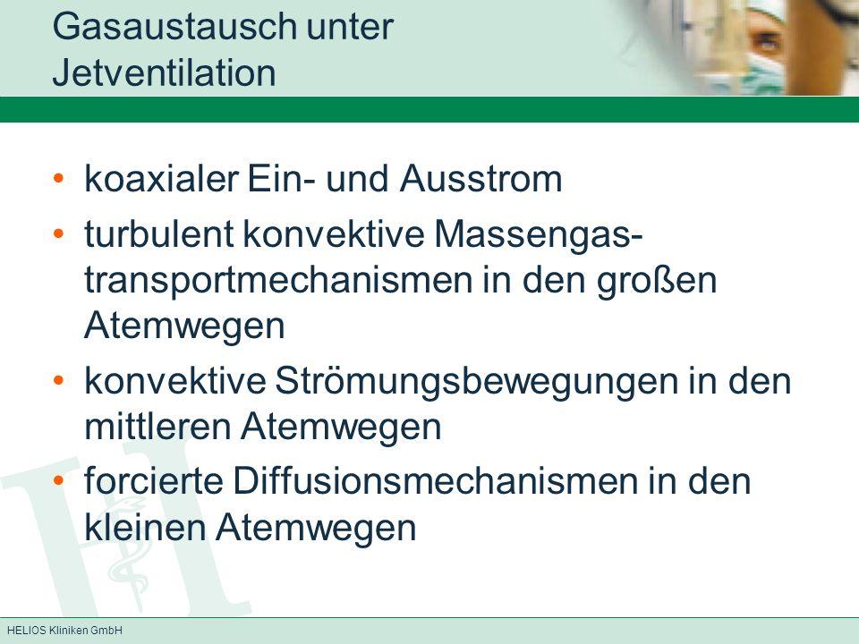 HELIOS Kliniken GmbH Gasaustausch unter Jetventilation koaxialer Ein- und Ausstrom turbulent konvektive Massengas- transportmechanismen in den großen