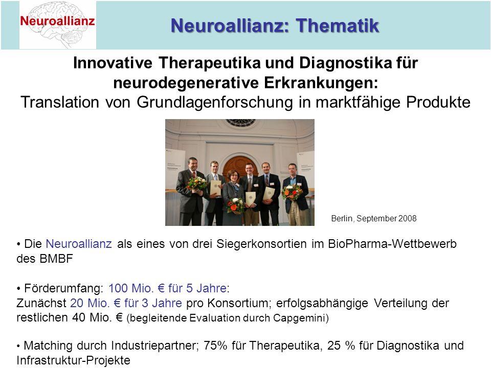 Neuroallianz: Thematik Neuroallianz: Thematik Innovative Therapeutika und Diagnostika für neurodegenerative Erkrankungen: Translation von Grundlagenfo