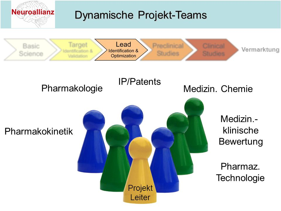 Dynamische Projekt-Teams Projekt Leiter Pharmakokinetik Pharmaz. Technologie Pharmakologie IP/Patents Medizin. Chemie Medizin.- klinische Bewertung Ve