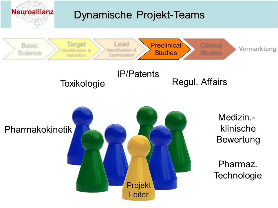 Dynamische Projekt-Teams Projekt Leiter Toxikologie Regul. Affairs Pharmakokinetik Pharmaz. Technologie IP/Patents Medizin.- klinische Bewertung Verma