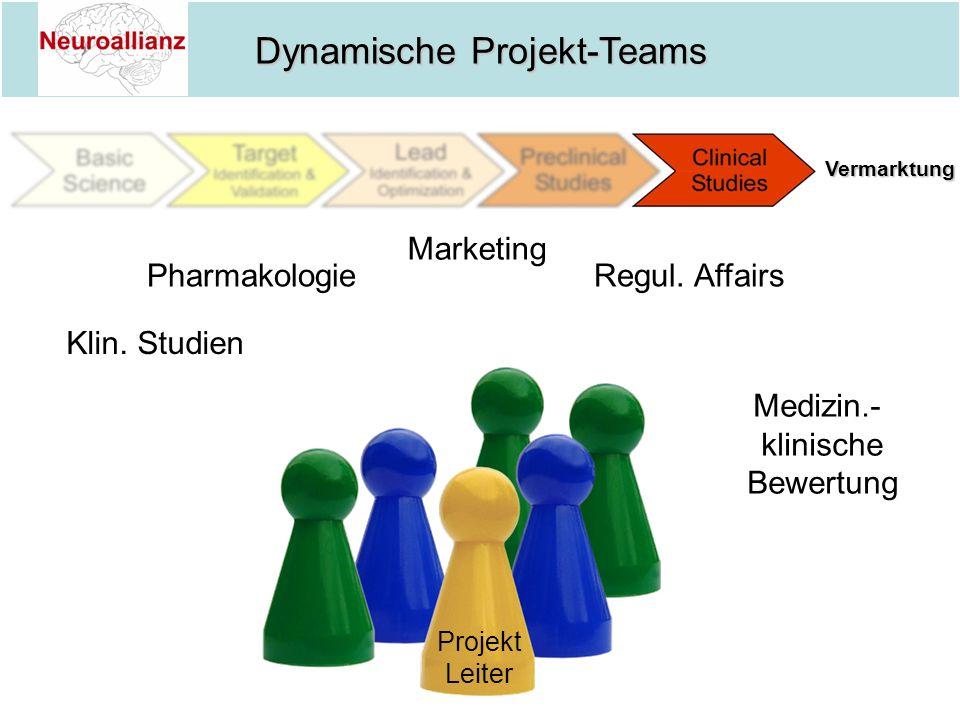 Dynamische Projekt-Teams Projekt Leiter Klin. Studien Pharmakologie Marketing Regul. Affairs Medizin.- klinische Bewertung Vermarktung