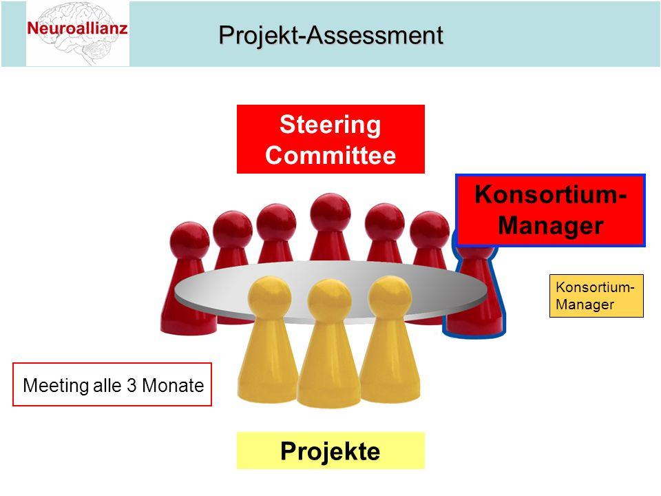 Projekt-Assessment Projekte Konsortium- Manager Steering Committee Meeting alle 3 Monate Konsortium- Manager