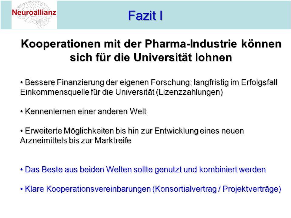 Fazit I Fazit I Kooperationen mit der Pharma-Industrie können sich für die Universität lohnen Bessere Finanzierung der eigenen Forschung; langfristig