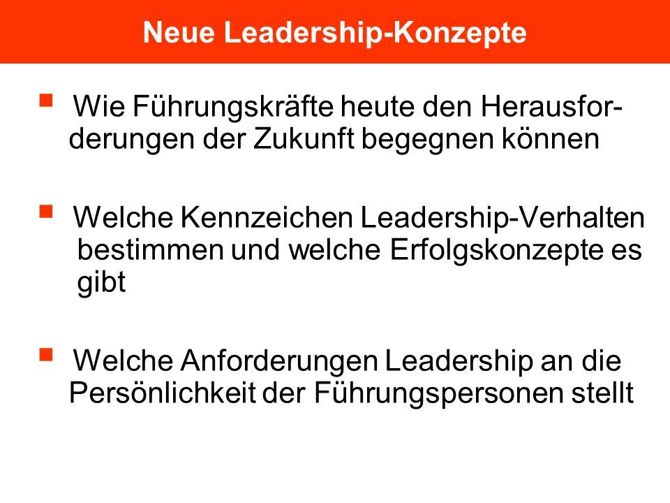 Neue Leadership-Konzepte Wie Führungskräfte heute den Herausfor- derungen der Zukunft begegnen können Welche Kennzeichen Leadership-Verhalten bestimme
