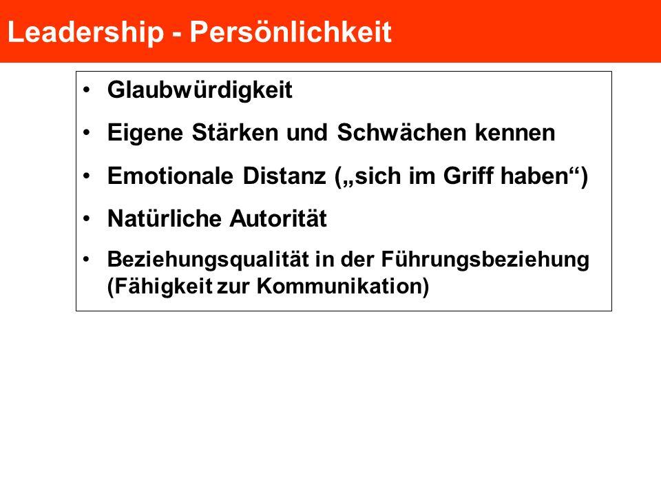 Leadership - Persönlichkeit Glaubwürdigkeit Eigene Stärken und Schwächen kennen Emotionale Distanz (sich im Griff haben) Natürliche Autorität Beziehun