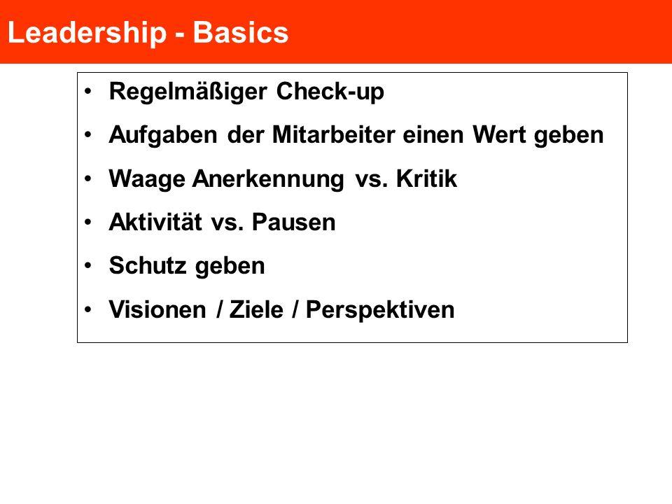 Leadership - Basics Regelmäßiger Check-up Aufgaben der Mitarbeiter einen Wert geben Waage Anerkennung vs. Kritik Aktivität vs. Pausen Schutz geben Vis