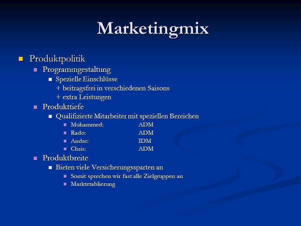 Marketingmix Marketingmix Produktpolitik Produktpolitik Programmgestaltung Programmgestaltung Spezielle Einschlüsse Spezielle Einschlüsse + beitragsfr
