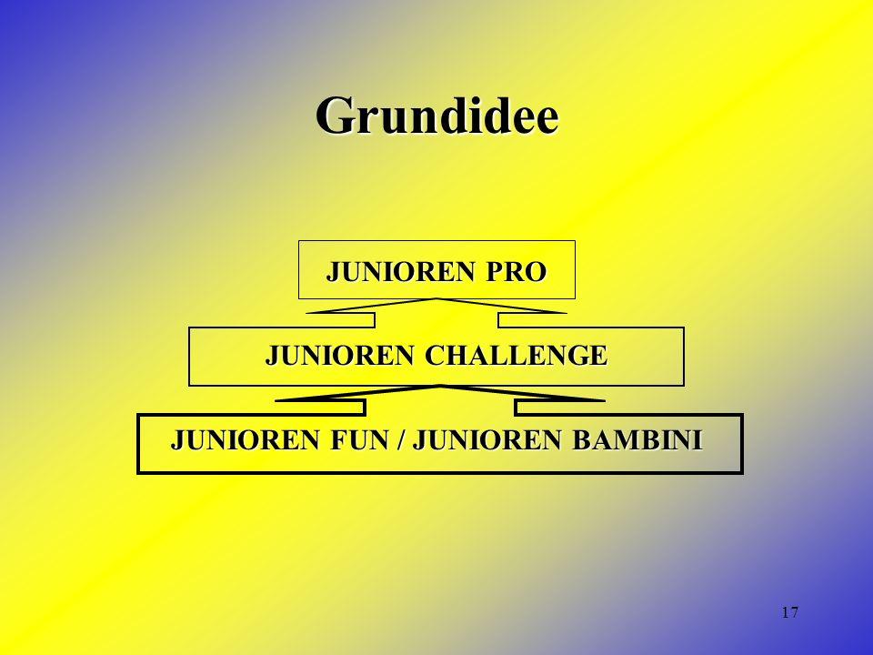 17 Grundidee JUNIOREN PRO JUNIOREN CHALLENGE JUNIOREN FUN / JUNIOREN BAMBINI
